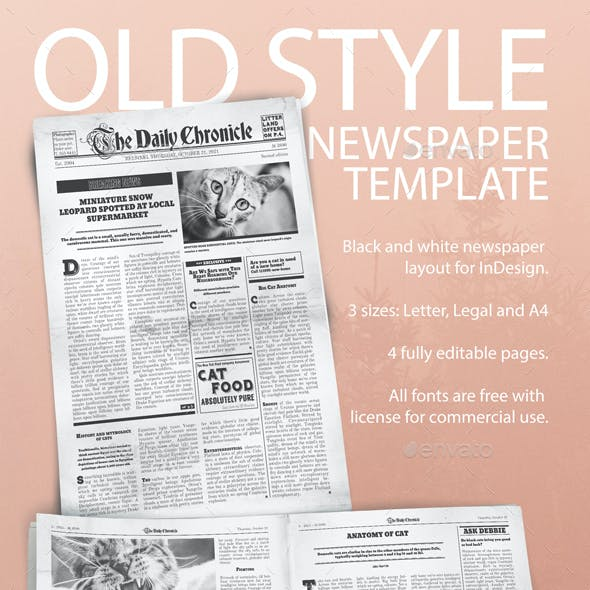 old style newspaper template by grafee graphicriver