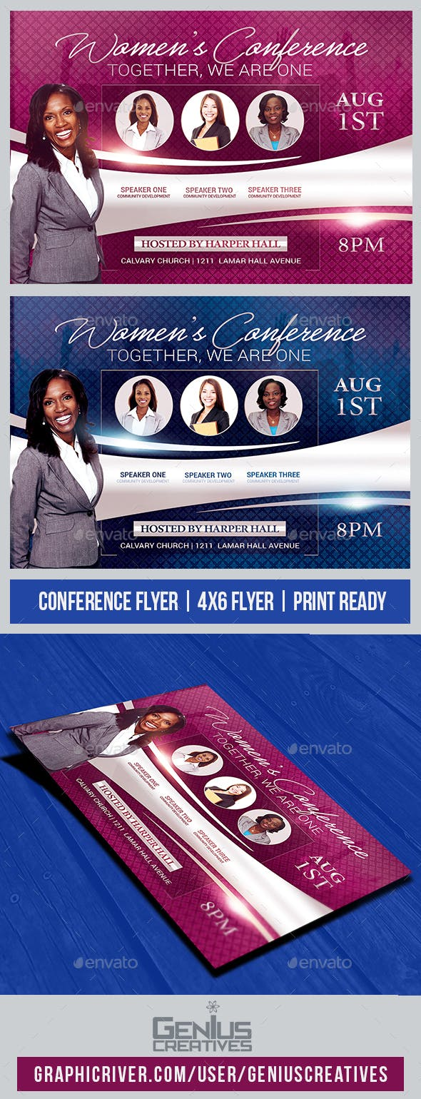 women s conference church flyer by geniuscreatives graphicriver