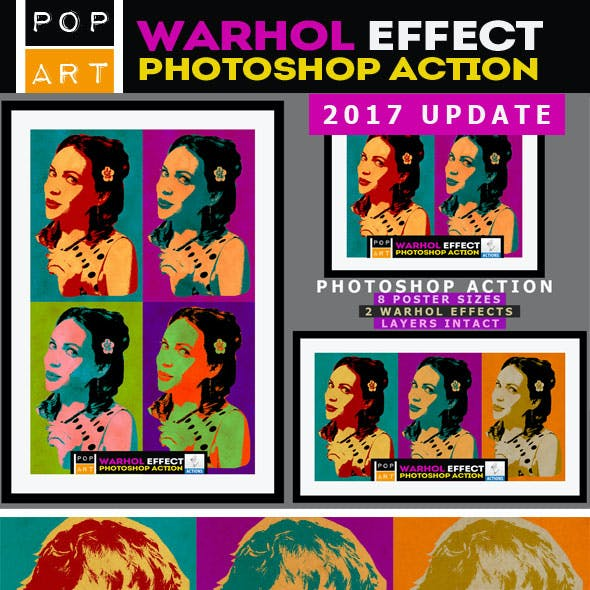 Andy Warhol Photoshop Action Graphics Designs Template