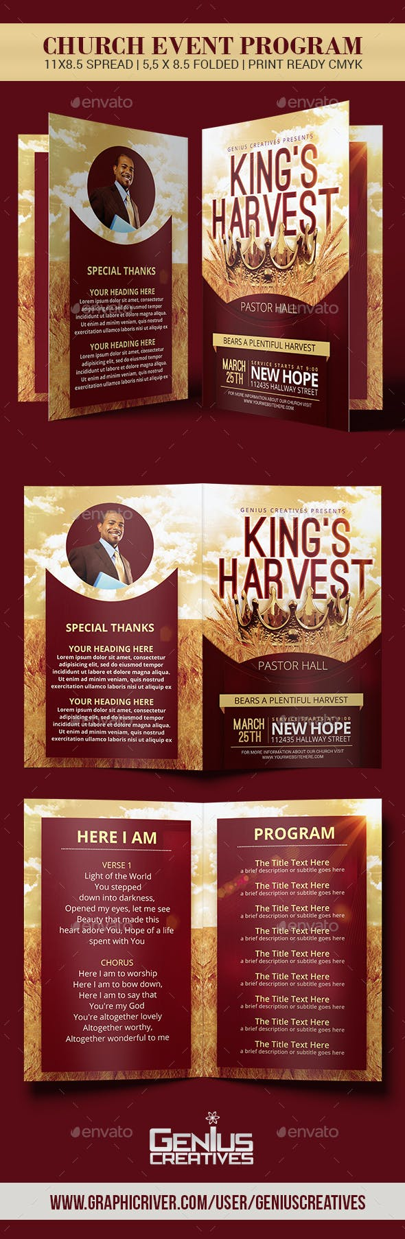 king s harvest church program template by geniuscreatives graphicriver