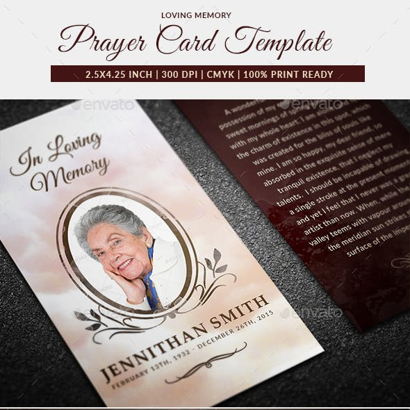 In Loving Memory And Prayer Card Graphics Designs Templates