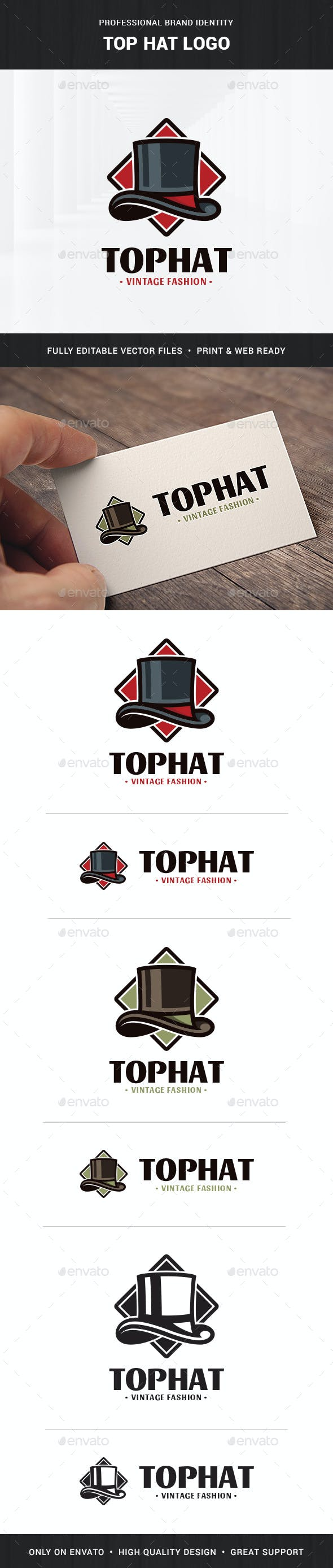 top hat logo template by liveatthebbq graphicriver