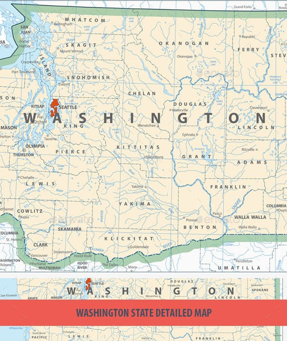 Davenport Washington Map.Washington State Detailed Map By Cartarium Graphicriver