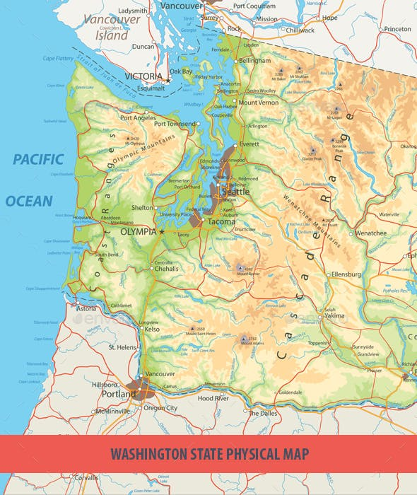 Port Angeles Zip Code Map.Washington State Physical Map By Cartarium Graphicriver
