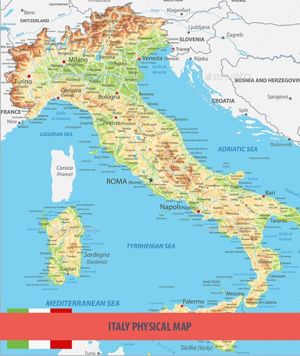 Novara Italy Map.Italy Physical Map By Cartarium Graphicriver