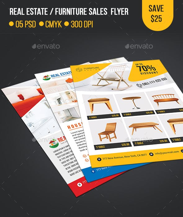 real estate furniture sales flyer template by createuiux