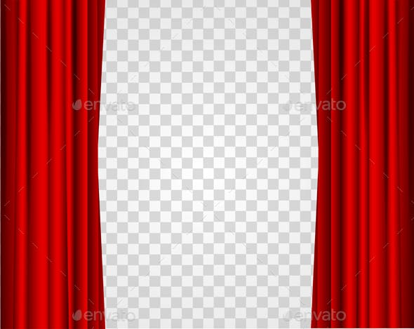 Realistic Red Opened Stage Curtains On A Transparent