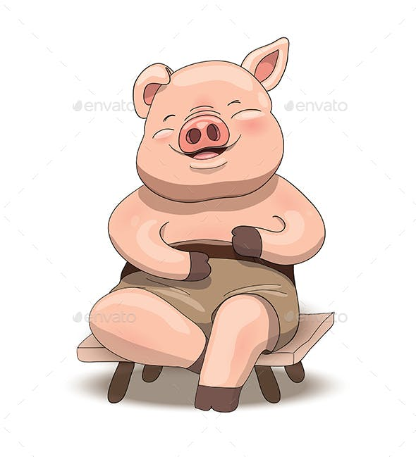 cartoon pig character sitting and laughing by illumylov graphicriver