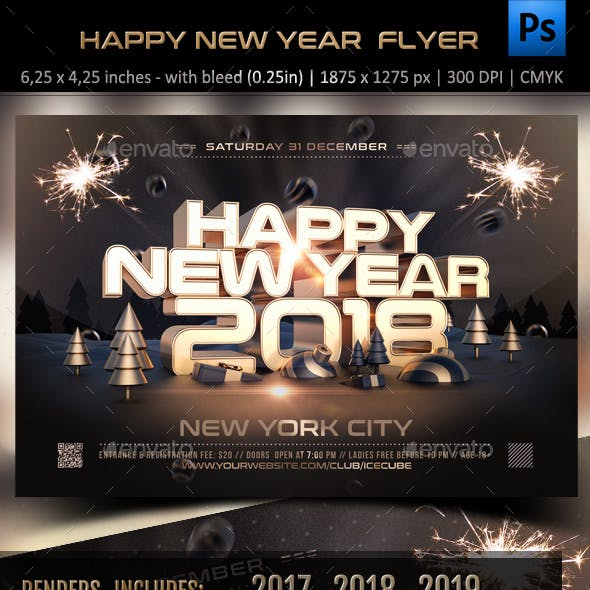 golden new year flyer template