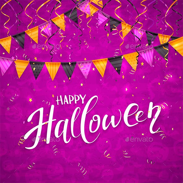 purple halloween background with pennants and streamers by losw