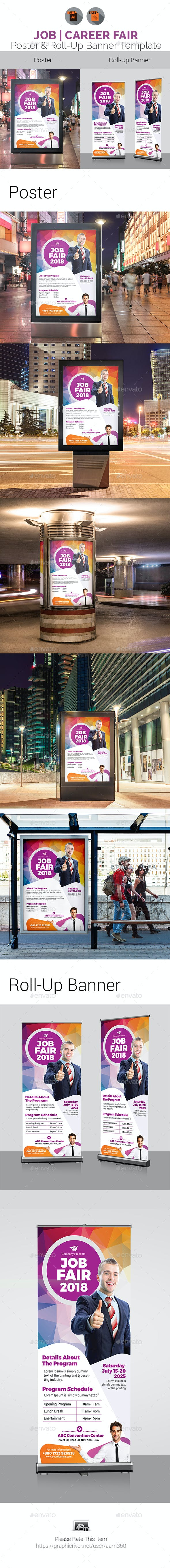 job fair poster roll up template bundle by aam360 graphicriver