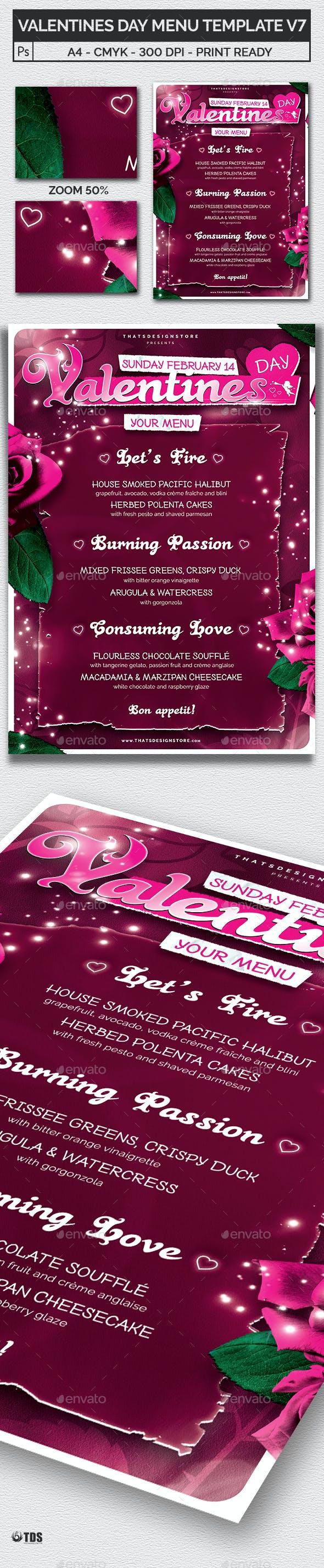 Valentines Day Menu Template V7 By Lou606 Graphicriver