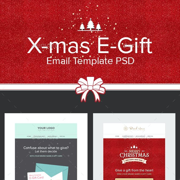 X Mas E Gift Christmas E Gift Card Email Template Psd By