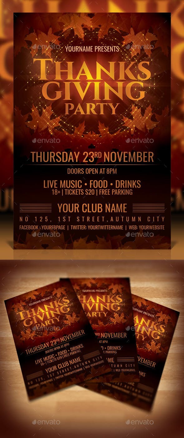 thanksgiving party flyer by dilanr graphicriver