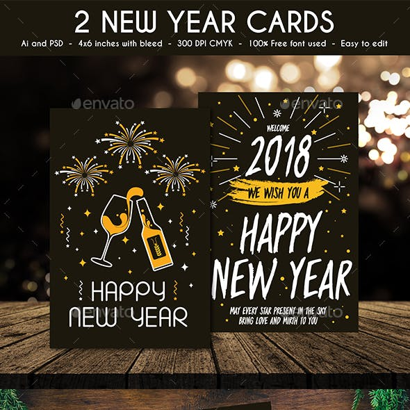 card and modern new year card designs template