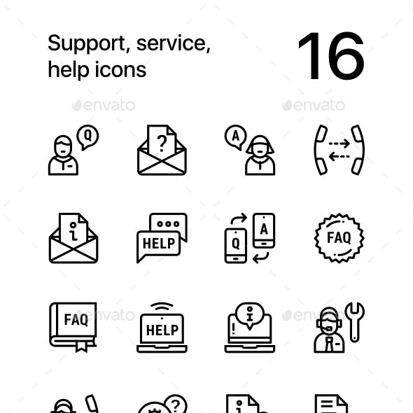 Support, Service, Help Simple Line Icons for Web and Mobile Design