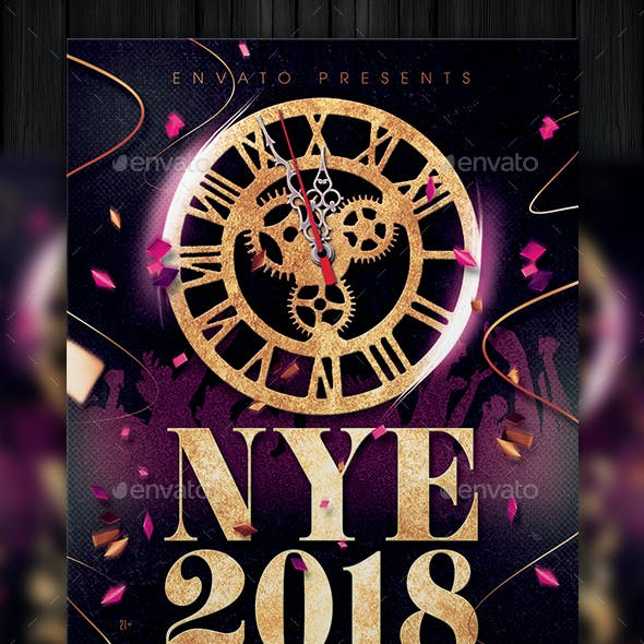new years 2018 flyer template