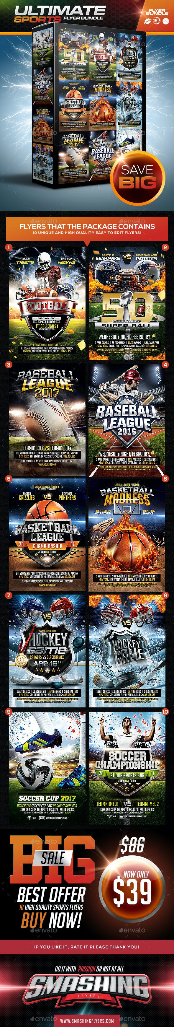 ultimate sports flyer template bundle by smashingflyers graphicriver