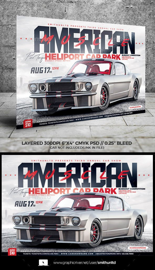 Car Show American Muscle Flyer Horizontal By Smithunltd Graphicriver