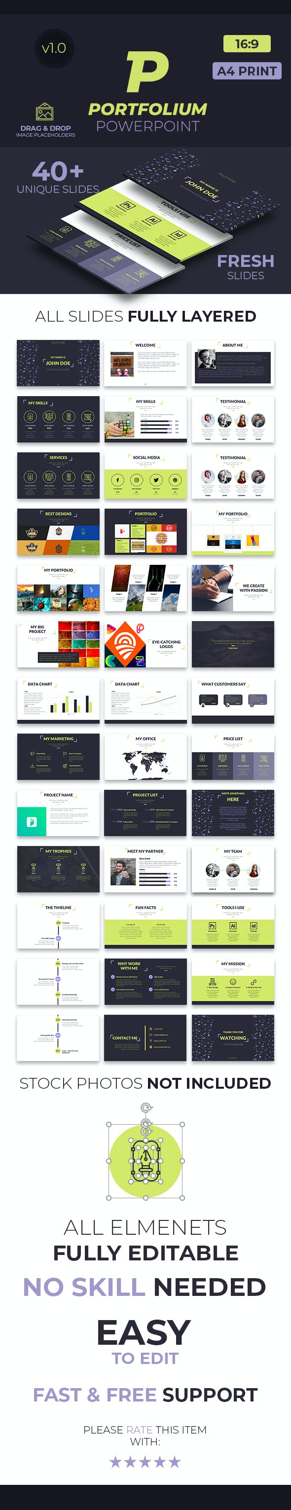 portfolium portfolio powerpoint presentation template by creative fox