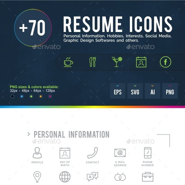 resume cv icons from graphicriver