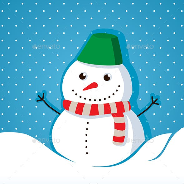 merry christmas card with snowman happy new year 2018