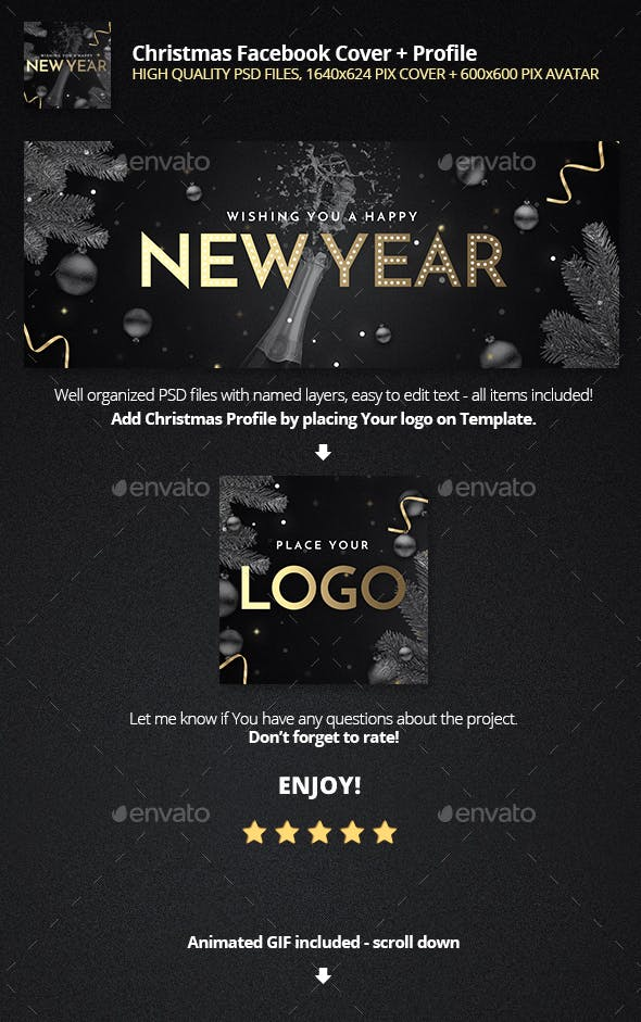 happy new year fb cover with animated gif profile template facebook timeline covers social