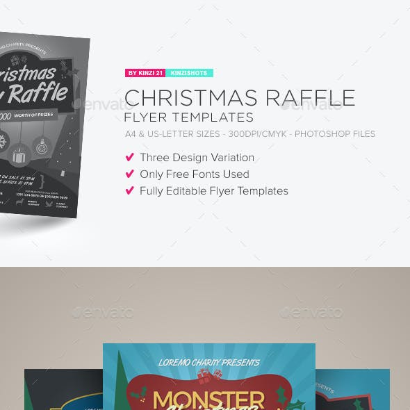 christmas raffle flyer templates by kinzishots graphicriver