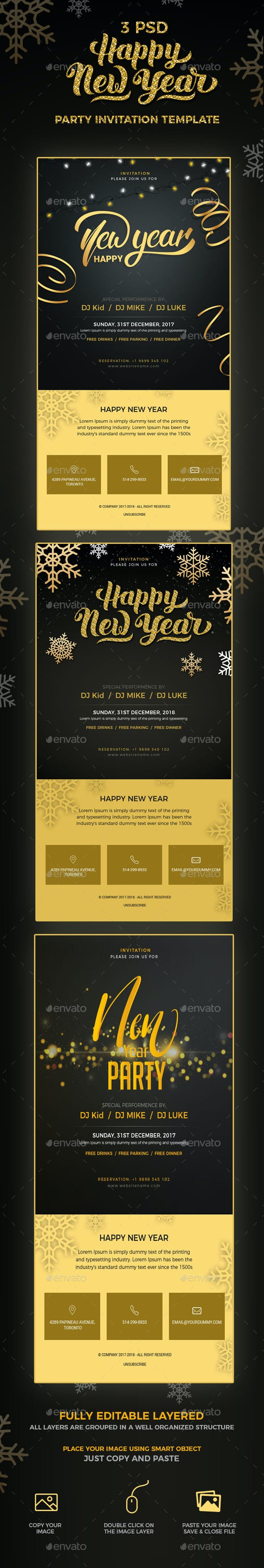 new year party invitation email template psd e newsletters web elements