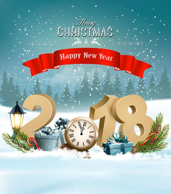 happy new year 2018 background with presents and clock new year seasonsholidays