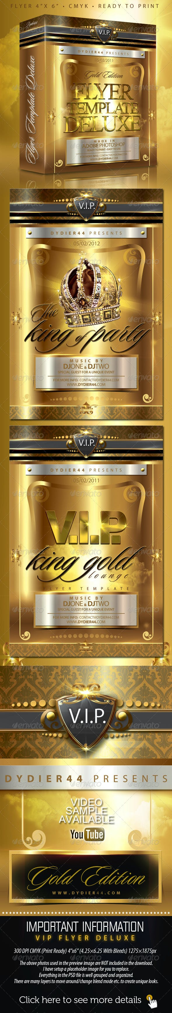 v i p gold deluxe flyer template 4x6 by dydier44 graphicriver