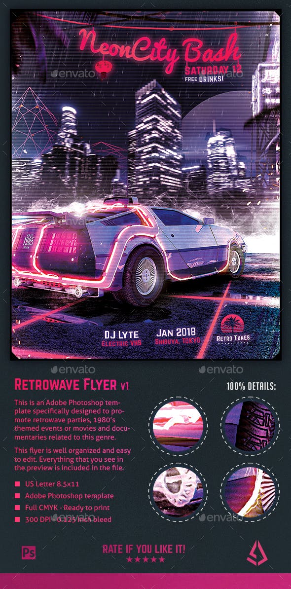 synthwave flyer v1 neon city retrowave poster template by stormdesigns
