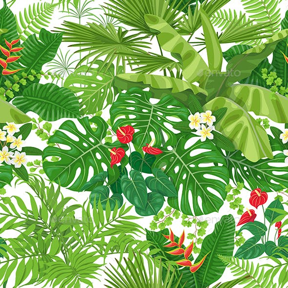 Tropical Leaves And Flowers Pattern By ValIva GraphicRiver Custom Tropical Leaves Pattern