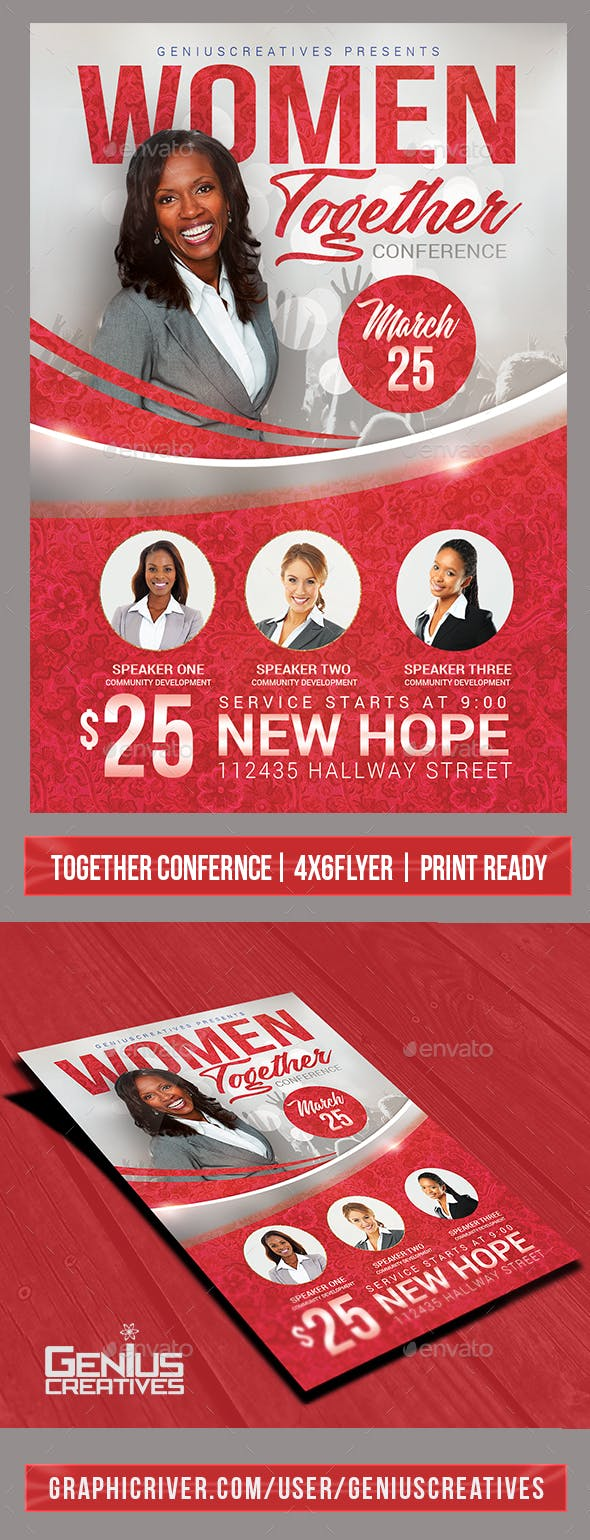church event or women s conference flyer template by geniuscreatives
