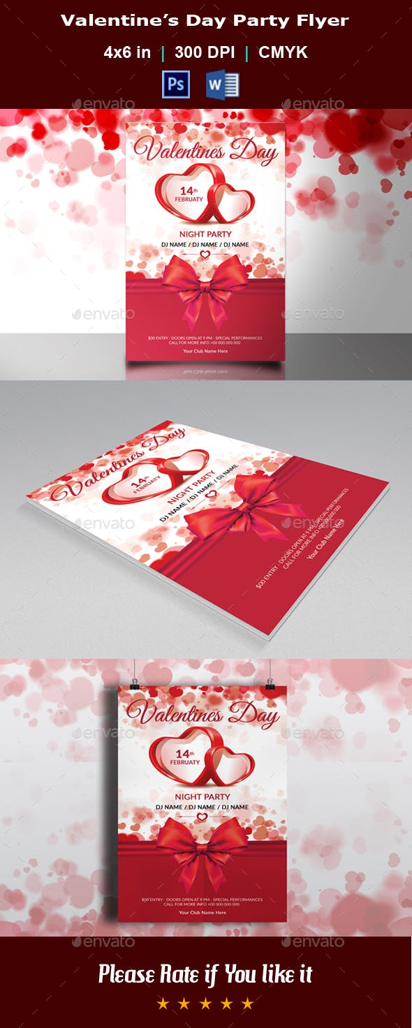 Valentine S Day Party Flyer Template By Azgraphics Graphicriver