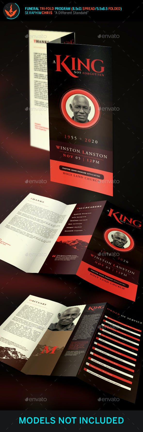 king funeral program tri fold brochure template by seraphimchris
