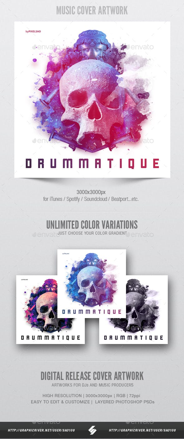 Drummatique Music Album Cover Artwork Template By Sao108