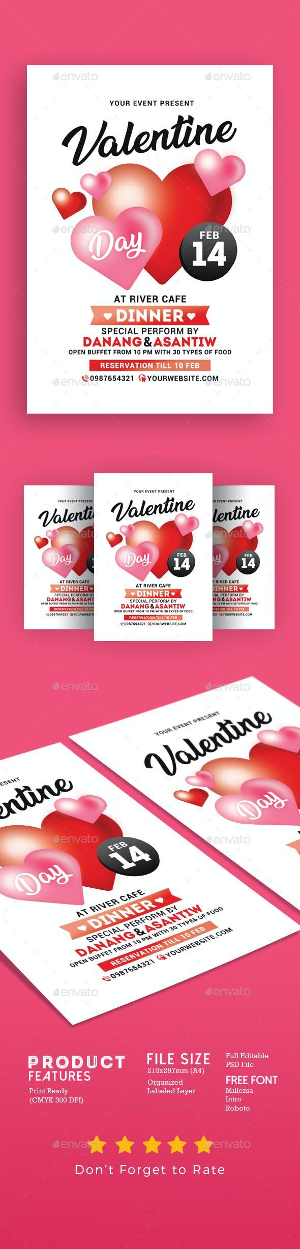 Valentine Day Dinner Flyer By Muhamadiqbalhidayat Graphicriver