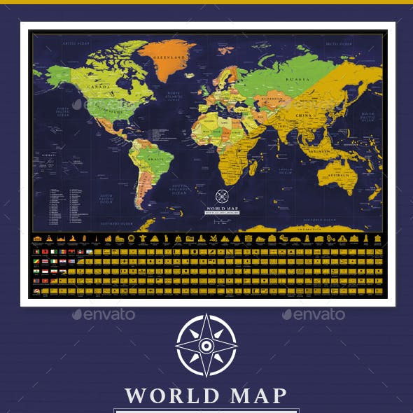 Capitals vectors from graphicriver scratch off detailed world map poster gumiabroncs Gallery