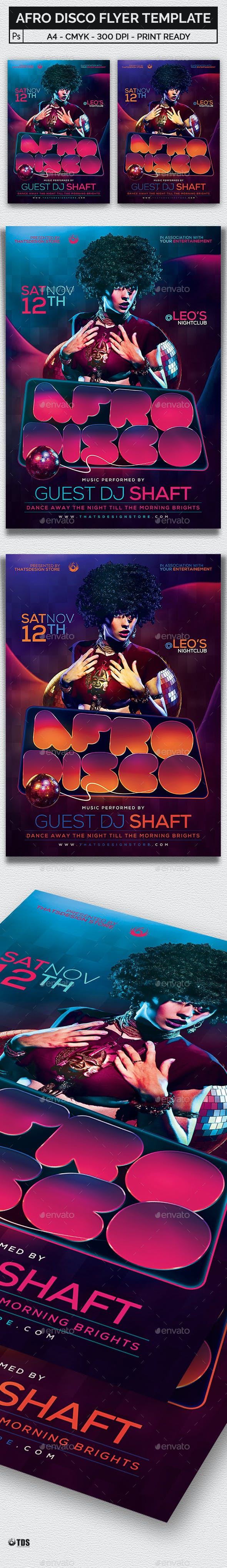afro disco flyer template by lou606 graphicriver