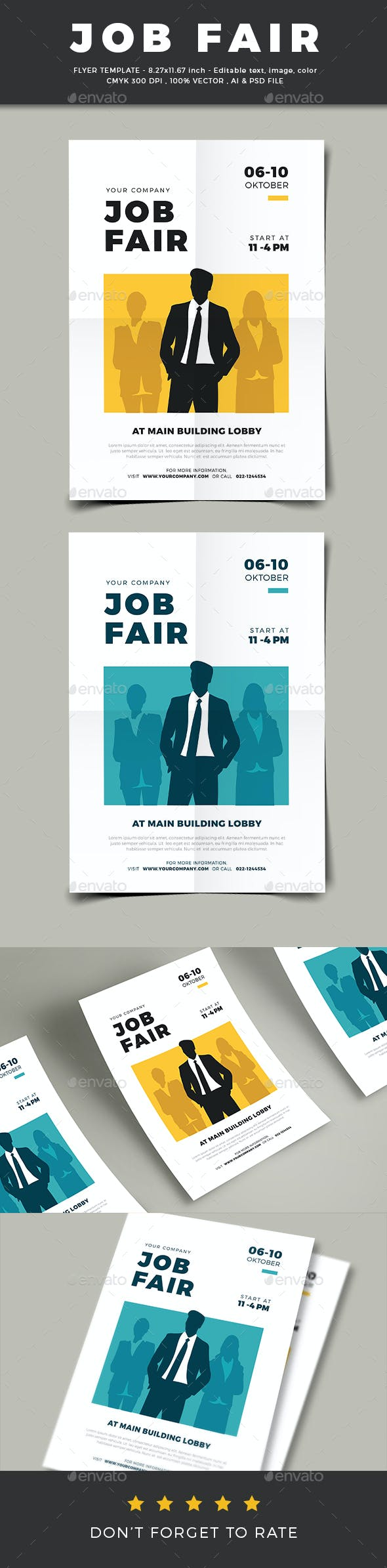 job fair flyer template by vector vactory graphicriver
