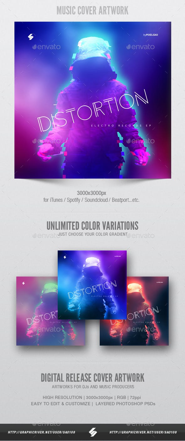 Distortion Music Album Cover Artwork Template By Sao108 Graphicriver