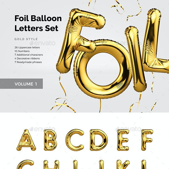 Foil Balloon Letters Set by another0ne | GraphicRiver