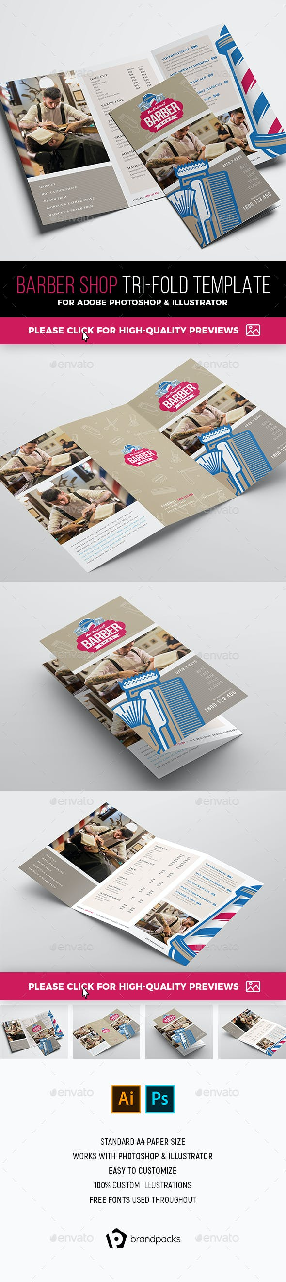 barber shop tri fold brochure template by brandpacks graphicriver