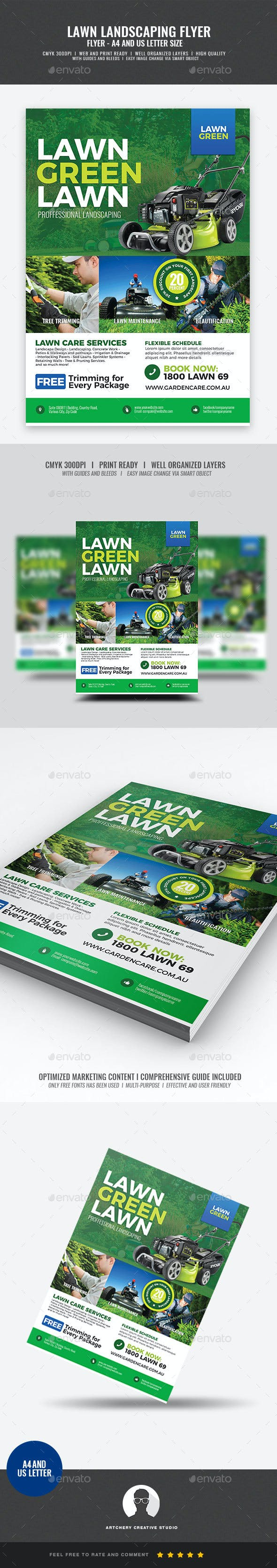 landscaping and lawn care flyer by artchery graphicriver