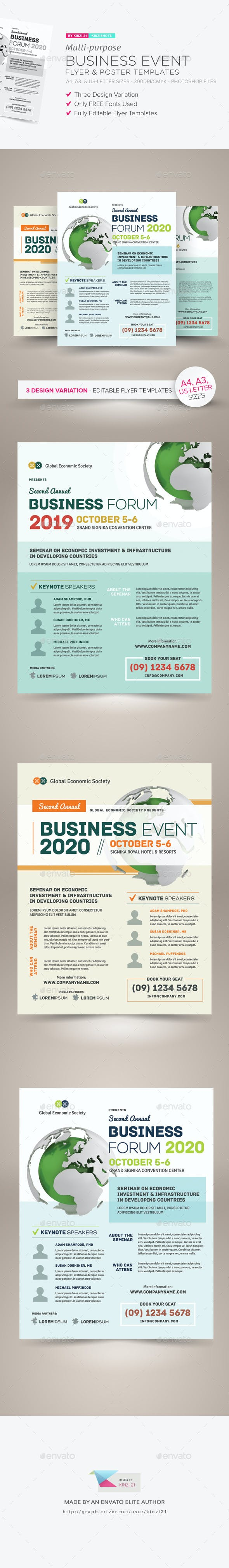 multi purpose business event flyer poster templates by kinzishots