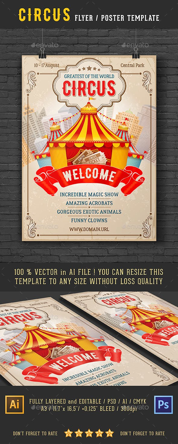 vintage circus event flyer or poster template by mari pazhyna