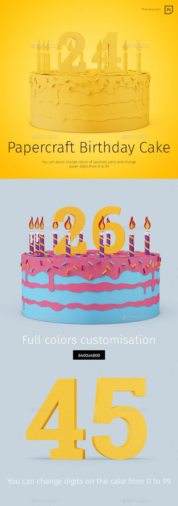 Papercraft Birthday Cake By TIT0