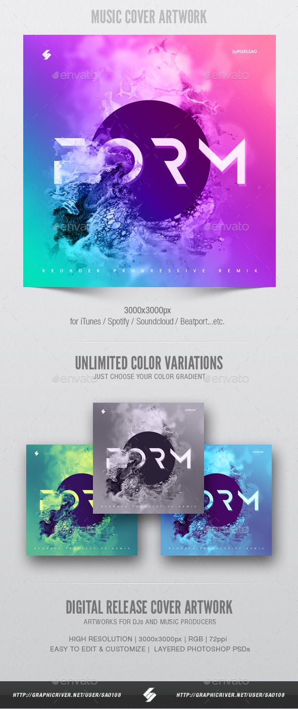 Form Music Album Cover Artwork Template By Sao108 Graphicriver