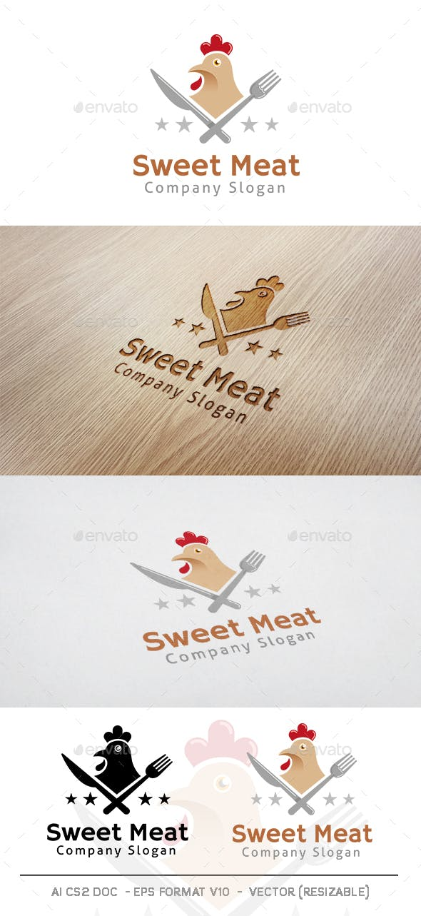 Sweet Meat Chicken Food Logo By Mr Goro Graphicriver